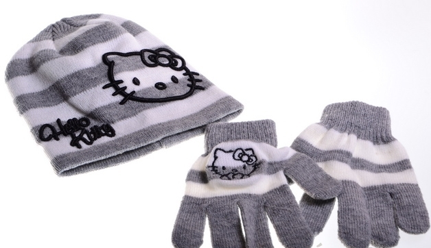Hello Kitty čiapka a rukavice šedý pruh HK24