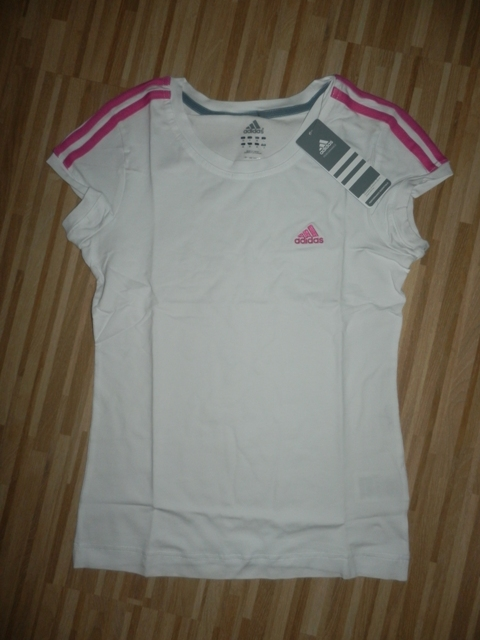 Dámske tričko Adidas biele s ruž.pásmi 6389cedcb70